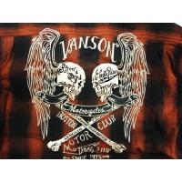Vanson/バンソン・半袖シャツ NVSS-403 ワッペン&刺繍「ウイングWスカル&クロスボーン」オンブレチェック・半袖シャツ レッド