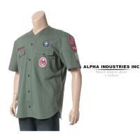 大きいサイズ メンズ シャツ 半袖 3L 4L 5L ALPHA INDUSTRIES INC アルファ インダストリーズ ワッペン ノーカラー ボーイスカウト