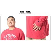 大きいサイズ メンズ Tシャツ 長袖 3L 4L 5L Champion チャンピオン 綿100% フロントプリント クルーネック