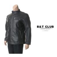 大きいサイズ メンズ ライダースジャケット B&T CLUB パンチングPUレザー フルジップ 袖ジップ シングル 3L 4L 5L 6L 7L 8L 相当