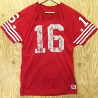 古着 Wilson/ウィルソン フットボール Tシャツ ゲームシャツ  前後のかすれた数字が雰囲気の...