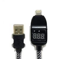 USBから出力される電流(A)、電圧(V)の測定・表示ができるiphoneケーブルです。自動に切替し...