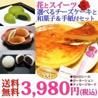 父の日ギフト チーズケーキと和菓子に花と手紙付のセット♪ (沖縄・離島は別途送料がかかります)  人...