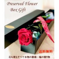 花、茎、葉すべてがプリザーブドフラワーのギフトボックス入り。バラの色は5色。花の直径は約5cmで最も...