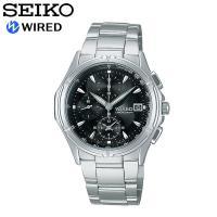 【SEIKO WIRED】セイコー ワイアード 腕時計 メンズ 電波ソーラー 10気圧防水 ニュース...