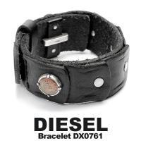 【DIESEL/ディーゼル】 ブレスレット 本革レザー メンズ アクセサリー ブラック DX0761...