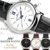 MASTER WATCH マスターウォッチ 腕時計 電波 革ベルト クオーツ 電波時計 日常生活防水...
