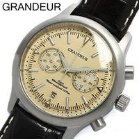 【グランドール GRANDEUR】 腕時計 メンズ センタークロノグラフ 革ベルト OSC046W1...