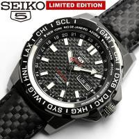 【SEIKO5 SPORTS】 セイコー5 メンズ 腕時計 自動巻き GMT ブラックカーボン 限定...