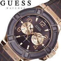 GUESS ゲス 腕時計 メンズ マルチカレンダー 革ベルト ブラウン W0040G3 GUESSは...