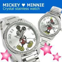 ミッキー ミニー クリスタル 腕時計 ミッキーマウス レザーバンド世界的に有名なDisneyの大人気...
