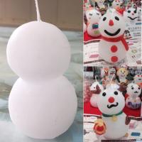 雪だるまの形をしたキャンドルです。   カラーワックスシート(別売り)を使って、お好みで装飾すること...