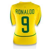 ロナウド 直筆サイン入りユニフォーム 2002-03 ブラジル代表 ホーム バックサイン (Ronaldo Back Signed Brazil 2002-03 Home Shirt)|cardfanatic