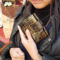 二つ折り財布 本革 レディース レザー グラデーション 艶クロコ型押し エナメル リモンタ社ナイロン
