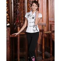 チャイナ風 トップス チャイナ服 半袖 大きいサイズ チャイナボタン 刺繍 レディース 上着