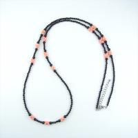 天然石 ネックレス オニキス 染サンゴ ピンク色 双子 ロング|cathaycoral