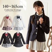 001be6936099c 卒業式 スーツ 女子 卒服 小学校 5点スーツセット 女子 140 150 160 165cm  定番のジャケットと、シャツ、スカート、リボン、ワッペンを合わせたスーツセット。