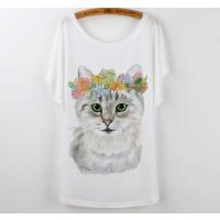 【送料無料】猫 レディース Tシャツ 大きめ ル―ズ 半袖 かわいい 丸首 白 ユニーク イラスト