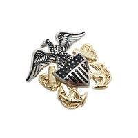 34 アメリカ海軍 制帽章 将校用 バッジ 金属製 徽章 レプリカ 黒色