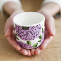 マリメッコ ラテマグ プリマヴェーラ ホワイト×ライラック×グリーン   marimekko PRIMAVERA コーヒーカップ プリマベーラ  (23) [70159]