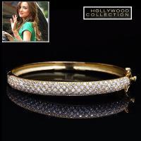 パヴェダイヤモンド 18金 ゴールドブレスレットは美しいパヴェダイヤモンドCZが敷き詰められたカーヴ...