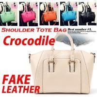 大きいサイズ レディースクロコダイル模様の切り替えデザイン フェイクレザー バッグ 大きいサイズの服...