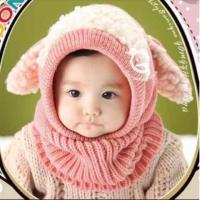 ニット帽 ベビー&キッズ用  とってもキュートなうさぎちゃん風、ひつじさん風のニット帽子です。  頭...