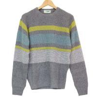 「クロコダイル」の使いやすい毛混クルーネックセーター。 ベーシックな色に鮮やかなボーダーが入り明るい...