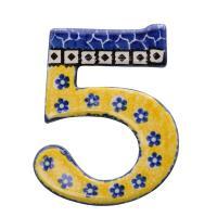 数字のオーナメントです。 絵柄は、自然の明るさを感じる黄色と、セラミカの基本色である藍色の小花模様の...