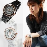 レディース仕様! ピンクゴールド使いモノトーンスタイル腕時計  定番人気のモノトーンシリーズを ピン...