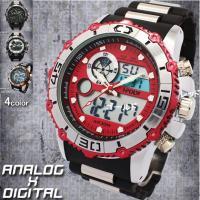 『アナログデザイン』と 『デジタルデザイン』を同時に楽しめる、 メンズモデルの腕時計です。 日付はも...
