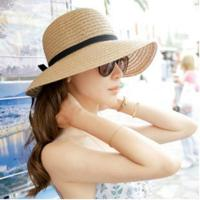 上品でキュートな リボンであわせやすい麦わらHAT UV ハット 小顔効果&UVケア効果抜群 紫外線...