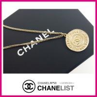 シャネル CHANEL ネックレス アクセサリー ペンダント ゴールド コイン プレート CC ロゴ...