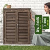 シンプルなのに機能は充実した木製物置です。 収納する物に合わせて棚板は3段階に調節が可能。 天井部分...