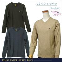 【POLO by Ralph Lauren Boy's】 ラルフローレン 長袖 Vネック Tシャツ ...