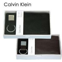 ギフトセットA, 財布・キーホルダー、2点セット メンズ 二つ折財布、(パスケース付) Calvin...