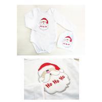 クリスマスパーティに サンタのアップリケがかわいいベビー用長袖ロンパース 帽子SET。(NB 3M 6M 12M 新生児 0ヶ月 3ヶ月 6ヶ月 12ヶ月 1歳 1才 50cm 60cm 70cm