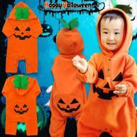 91e696365aabd ハロウィン コスプレ 衣装 子供 ベビー キッズ 仮装 ジャックオーランタン かぼちゃ カバーオール ロンパース 長袖 コスチューム なりきり 男の子  女の子