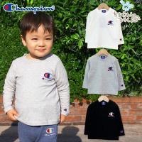 胸と袖のチャンピオン刺繍ロゴがキュートな長袖Tシャツ!シンプルなデザインでいろんなコーデに合わせやす...