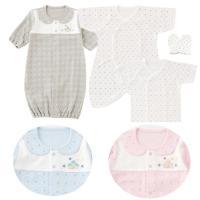 新生児ベビーが初めて身に付けるお洋服を 4点セットにした初めてセットです。  シンプルな星柄で普段着...