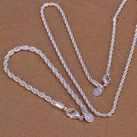 ネックレス ブレスレット シルバー 925 スクリューチェーン セット品 ロープチェーン 3mm 2点セット アクセサリー レディース メンズ ユニセックス チェーン