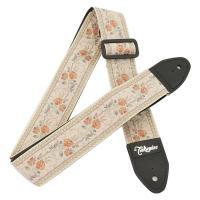 丈夫なレザー部の本体の表面に、花柄の刺繍入りの布を施したギターストラップです。日本製