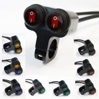 バイク 自転車 汎用 防水 アルミ 小型 インジケーター LED ハンドル スイッチ 丸型ボタン 9カラー