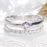 PT900 テンダイヤモンド 2連 エタニティ風 リング。  エタニティと大粒ダイヤを2列に組み合わ...