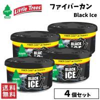 Little Trees リトルツリー ファイバーカン ブラックアイス 4個セット 缶タイプ エアフレッシュナー 芳香剤 消臭 カー用品