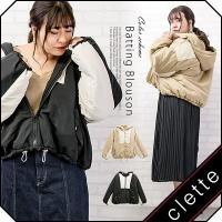 大きいサイズ レディース 配色中綿ブルゾン|clette-online