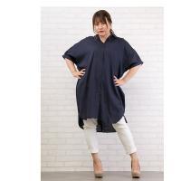 大きいサイズ レディース リネン混ロングシャツ|clette-online|08