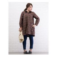 大きいサイズ レディース 長袖ロングチェックシャツ|clette-online|05