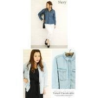 大きいサイズ レディース 裾フリンジテンセルデニムシャツ|clette-online|05