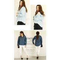 大きいサイズ レディース 裾フリンジテンセルデニムシャツ|clette-online|06